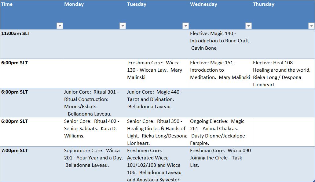 Summer 2017 schedule