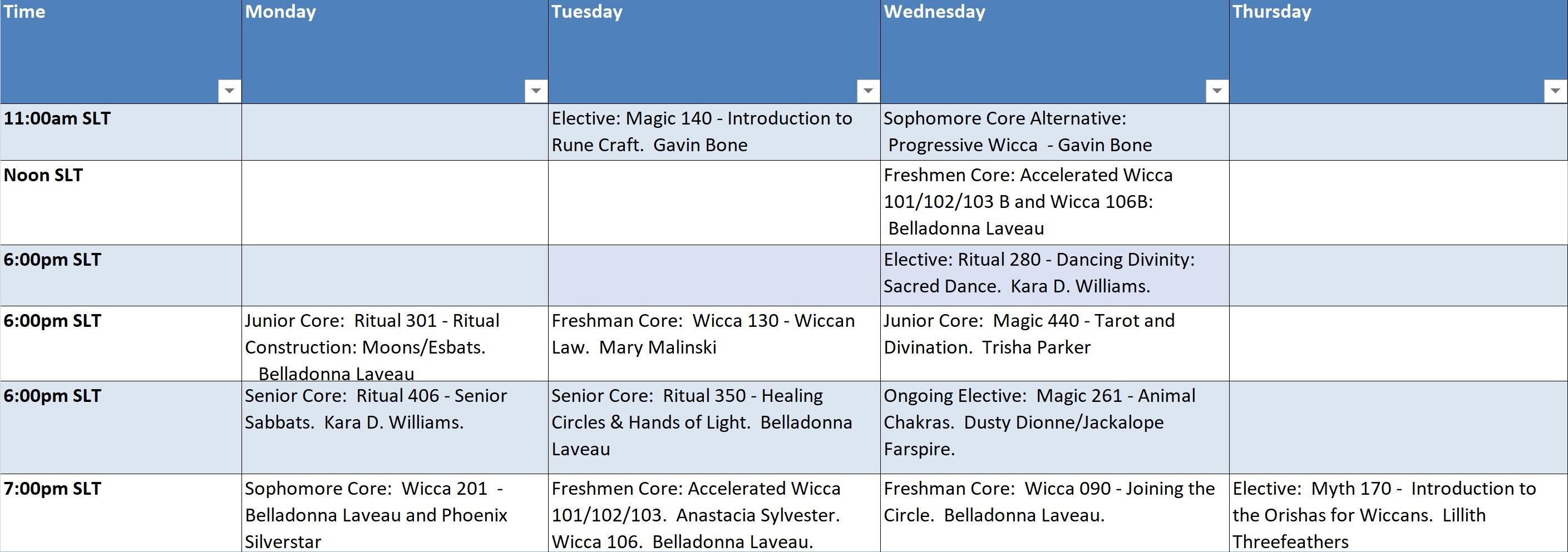 Summer 2018 Class Schedule