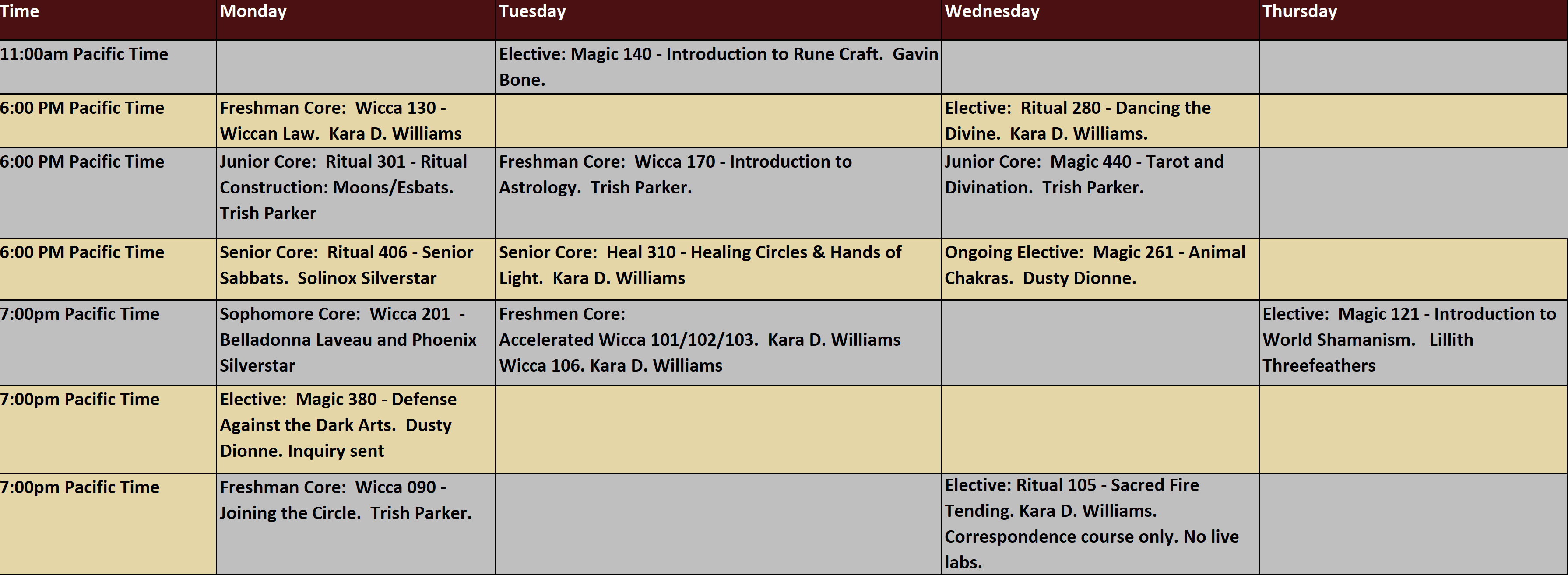 Schedule of classes for Summer 2021 session