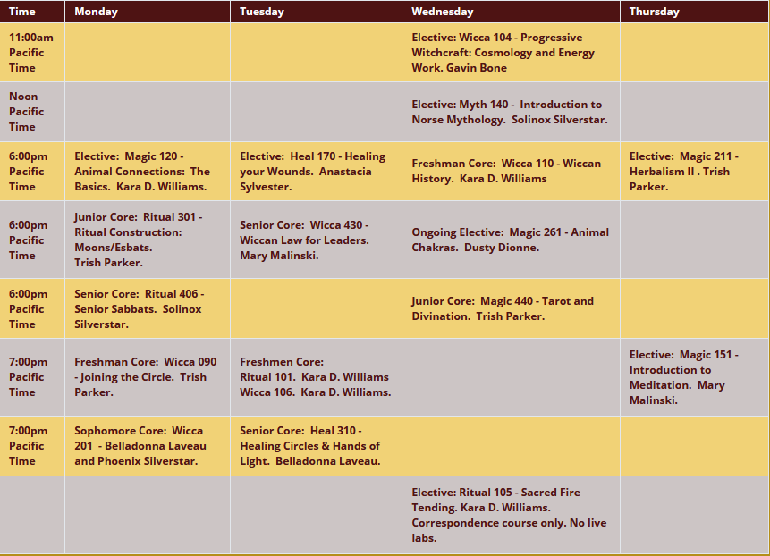 2021 Fall class schedule; for a text version please see https://www.wiccanseminary.edu/term-schedule